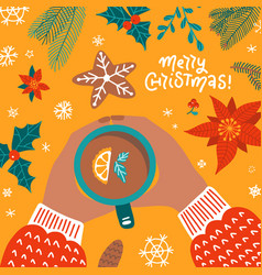 greeting card for merry christmas and happy new vector image