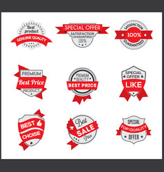 grey and red marketing label set 6 vector image