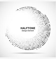 Halftone circle frame black abstract random dots vector