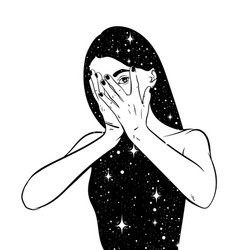 Hand drawn surreal woman with space instead vector