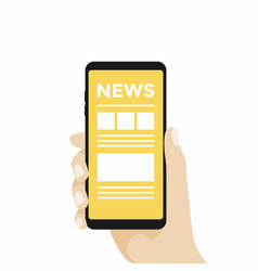 hand holding smartphone with online news vector image