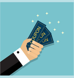hand holds several coupons vector image