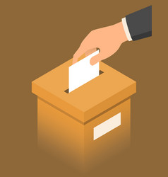 Hand putting paper in brown ballot box voting vector