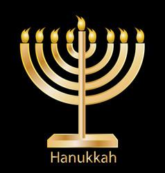 hanukkah gold menorah icon vector image