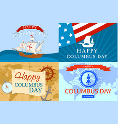 Happy columbus day banner set flat style vector