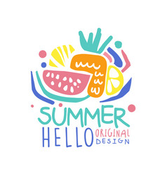 Hello summer logo template original design vector