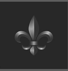 heraldic lily decorative logo 3d metallic vector image