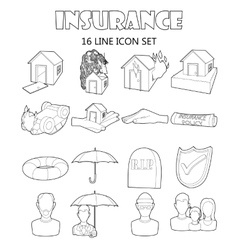 Insurance icons set outline style vector image