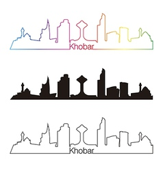 Khobar skyline linear style with rainbow vector image