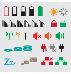 laptop and pc indication status icons eps10 vector image