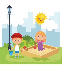Little kids couple playing on the park vector
