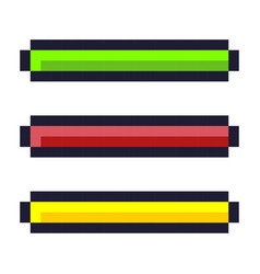 Loading progress bar pixel art cartoon retro game vector