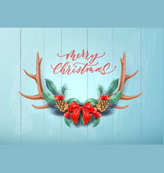 merry christmas lettering horns bow holly vector image