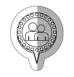 Monochrome sticker with couple and circular speech vector