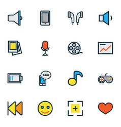 music icons colored line set with emoji previous vector image