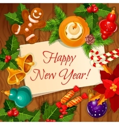 New Year holidays greeting card vector