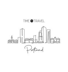 one single line drawing portland city skyline vector image