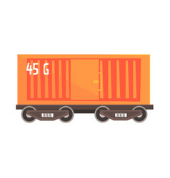 Orange cargo wagon colorful cartoon vector