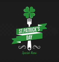 Patrick day food and drink menu on black vector