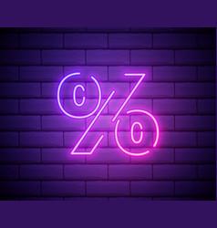 Percent neon sign color sale neon banner on brick vector