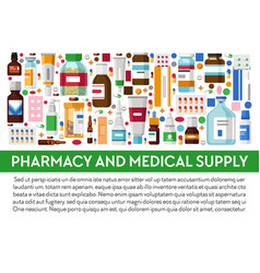 pharmacy and medical supply banner medicines and vector image