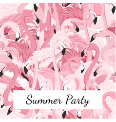 Pink flamingo birds crowd group summer party vector