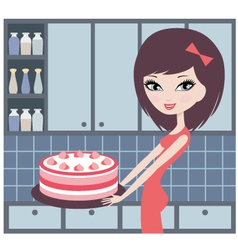 pretty girl holds a pie vector image