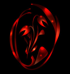 red tulip in fire flares for greeting card vector image