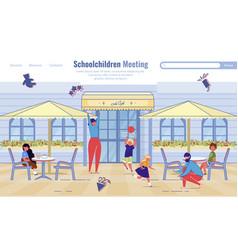 Schoolchildren meeting service flat landing page vector