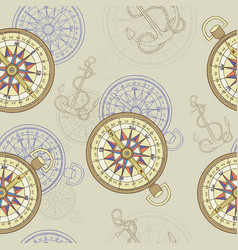 seamless background with compass and anchor vector image