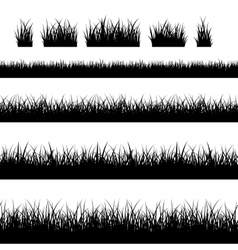 Seamless black grass silhouettes vector