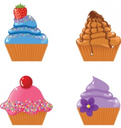 set of four cupcakes vector image