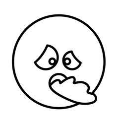 silhouette emoticon face sick expression vector image