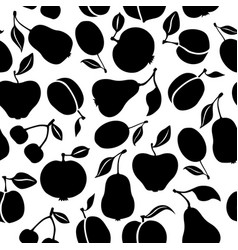 Silhouette fruits pattern seamless vector