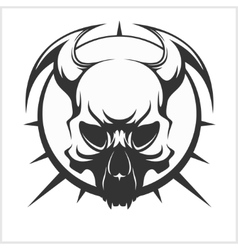 Skull tattoo and tribal design - isolated on white vector