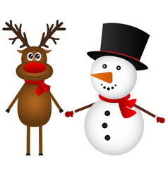 snowman with reindeer standing on a white vector image