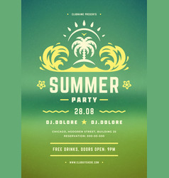 summer party poster or flyer retro design template vector image