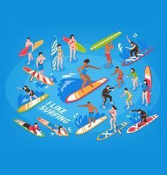 Surfing isometric blue background vector