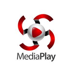 swirl sphere media play logo concept design vector image