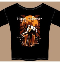 T Shirt with Halloween Zombie Graphic vector image