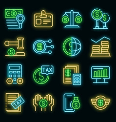 tax regulation icons set neon vector image