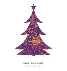 Textured christmas stars Christmas tree silhouette vector