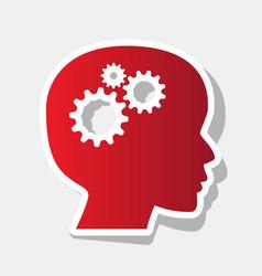 thinking head sign new year reddish icon vector image