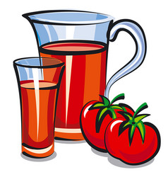 Tomato juice in jar vector