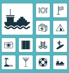 Tourism icons set collection of first aid bag vector