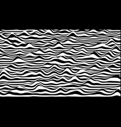 Trendy 3d black and white stripes distorted vector