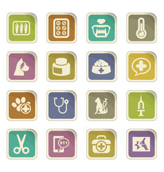 Veterinary clinic icons set vector