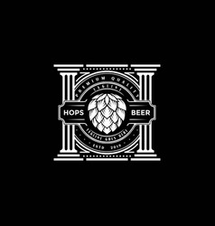 Vintage retro hop brewery pillar label logo design vector