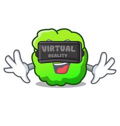 Virtual reality shrub mascot cartoon style vector