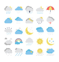 Weather flat colored icons 1 vector
